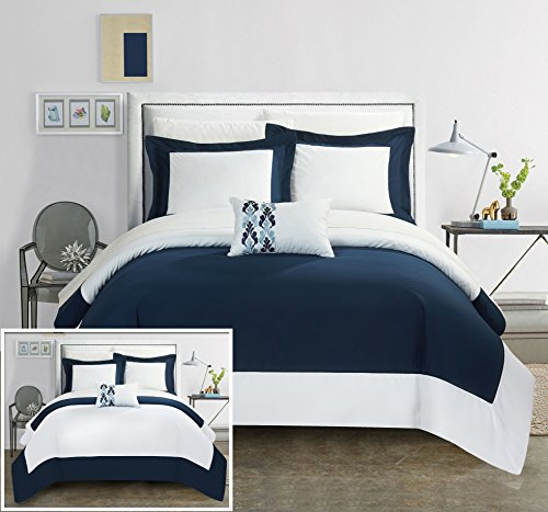 Chic Home 8 Piece Wynn MODERN TWO TONE REVERSIBLE HOTEL COLLECTION, with embellished borders and embroidery decor pillow Queen Bed In a Bag Duvet Set Navy With White Sheets included