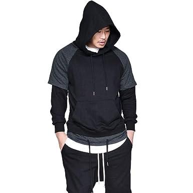 52d1b4916 Momola Men Slim Fit Hooded Long Sleeve Gym Muscle Tee With Pocket Men's  Casual T-