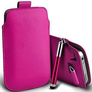 Samsung Galaxy Fame S6810 premium protección PU ficha de extracción Slip Cord En la cubierta de la caja del filtro del bolsillo de la Piel y Mini capacitiva lápiz óptico retráctil Hot Pink por Spyrox