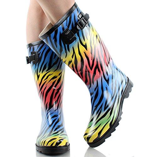 Halfhoge Kalfs Regenbestendige Rubberen Regenlaarzen In Luipaard, Zebra, Frans, Graffiti Regenboog