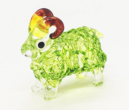 Goat Green Hand Blown Blowing Glass Art Animal Fancy Collectibles ()