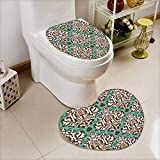 Bathroom Non-Slip Heart shaped foot pad Set arabic floral seamless pattern traditional arabic islamic background mosque decoration element Personalized Durable