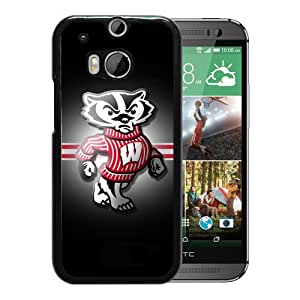 Custom Luxury Cover Case With Ncaa Big Ten Conference Football Wisconsin Badgers 13 Black HTC ONE M8 Case