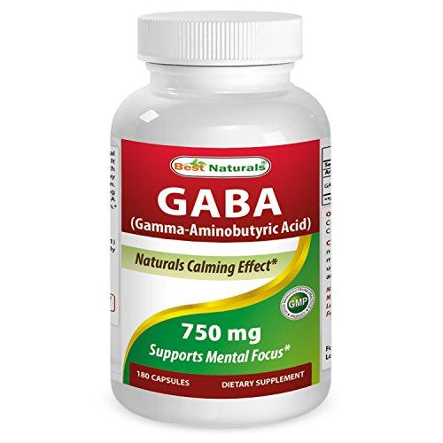 GABA 750 mg VCAP par meilleurs Naturals - naturel calmant effet * - fabriqué dans un USA certifiées GMP et FDA inspecté les installations et tierce partie test de pureté. Garantie!! (180 Vcaps)