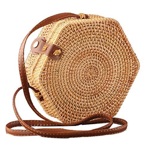 Handwoven Rattan Crossbody Bag Purse Straw Bags