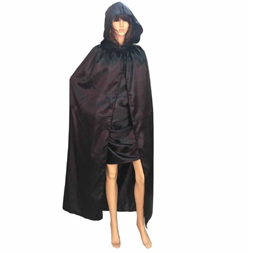 Fancy Masquerade Black Cape Satin Hooded Cloak Robe Adult Costume Accessory New