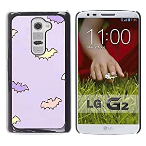 A-type Arte & diseño plástico duro Fundas Cover Cubre Hard Case Cover para LG G2 (Bat Kids Wallpaper Baby Mother Purple)