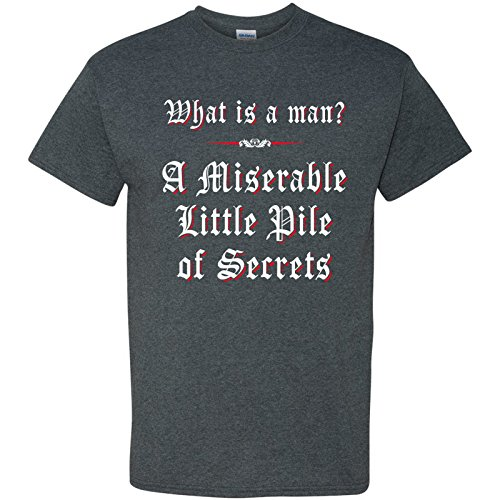 What is a Man? A Miserable Little Pile of Secrets Funny Gamer T Shirt - X-Large - Dark Heather (Castlevania Symphony Of The Night Cheats Ps1)