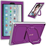 Fintie Case for All-New Amazon Fire HD 10 Tablet (7th Gen 2017) - [Tuatara Magic Ring] [360 Rotating] Multi-Functional Grip Stand Shockproof Protective Carry Cover w/Built-in Screen Protector, Purple