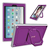 kindle fire protection case - Fintie Case for All-New Amazon Fire HD 10 Tablet (7th Gen 2017) - [Tuatara Magic Ring] [360 Rotating] Multi-Functional Grip Stand Shockproof Protective Carry Cover w/Built-in Screen Protector, Purple