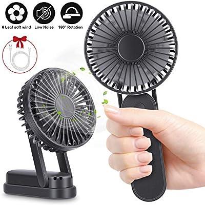 RenFox Ventiladores USB de 3000mAh Recargable Mini Ventiladores de Mano 3 Velocidades portátil Eléctrico Ventilador 3-10 H para el hogar al Aire Libre el Que Viajes Acampa (Negro): Amazon.es: Electrónica