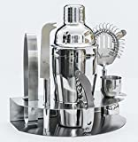 Alcochill 7pc Stainless Steel Cocktail Bar Tool Kit Set Includes Martini Shaker, Ice Tongs, Double Jigger, Corkscrew / Bottle Opener, Strainer, Cheese Knife & Storage Rack