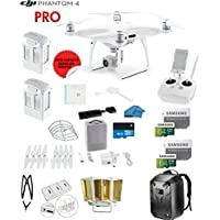 DJI Phantom 4 PRO Quadcopter Drone with 1-inch 20MP 4K Camera KIT + 2 Total DJI Batteries + 2 SanDisk 64GB Micro SDXC Cards + Card Reader 3.0 + Prop Guards + Charging Hub + Range Extender + Backpack