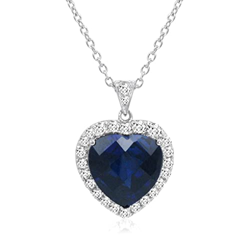 Amanda Rose Collection Sterling Silver Heart of The Ocean Created Blue and White Sapphire Pendant-Necklace 12ct tw