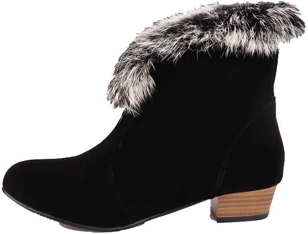 FBUXD023621 AllhqFashion Womens Low-Heels Frosted Ankle-High Solid Pull-On Boots