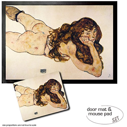 Set: 1 Door Mat Floor Mat (28x20 inches) + 1 Mouse Pad (9x7 inches) - Egon Schiele, Female Nude Lying On Her Stomach, 1917
