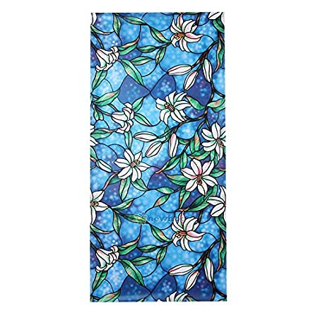 Merssavo Static Cling Cover Stained Flower Window Film Glass Privacy Home Decor 45x100cm