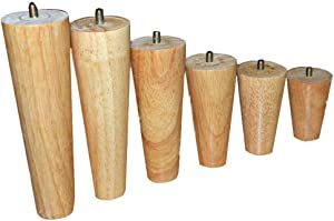 ZHAS Furniture Legs Solid Wood 100% Oak, Set of 4, Mid-Century Modern | Great for Sofa, Couch, Coffee Table! | Make Home & Office Furniture pop,Sofa Legs