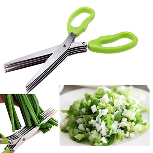 BBolive Herb Scissors Multipurpose Kitchen Shears Stainless Steel 5 Blade with Cleaning Brush
