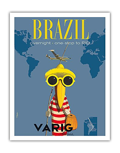 Varig Airlines - Brazil - Overnight One Stop to Rio De Janeiro - Varig Airlines - Lockheed Super G Constellation - Vintage Airline Travel Poster by Francesco Petit c.1950s - Fine Art Print - 11in x 14in