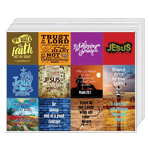 Christian Bible Verses Scriptures Quotes Stickers (10 Sheets) - Great Gift give Away for Journal Planner Sticky Notes Scrapbooking (Jesus Stickers)
