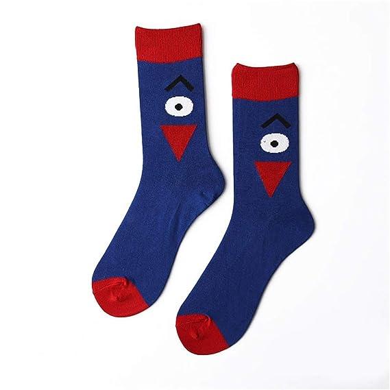 Diario Calcetines de dibujos animados de moda de los hombres calcetines de grandes ojos patrón transpirable Suave (Color : Azul, tamaño : 37-43yards): ...