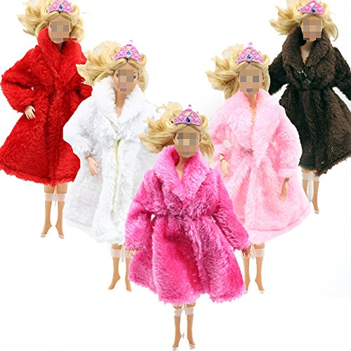 Lance Home Fashion 5pcs Handmade Plush Coat Clothes Outfit + 10 Pairs Shoes for Barbie Doll Xmas Gift (A)