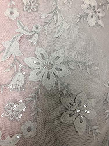 (Fabric In Style Sage Sequin Embroidery Mesh Lace Fabric 48-49'' by The Yard)