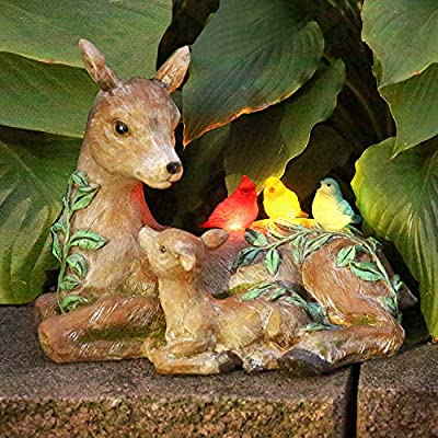 ART & ARTIFACT Solar Deer and Birds Sculpture - Outdoor Light Up Animal Yard and Garden Accent Lawn Ornament : Garden & Outdoor