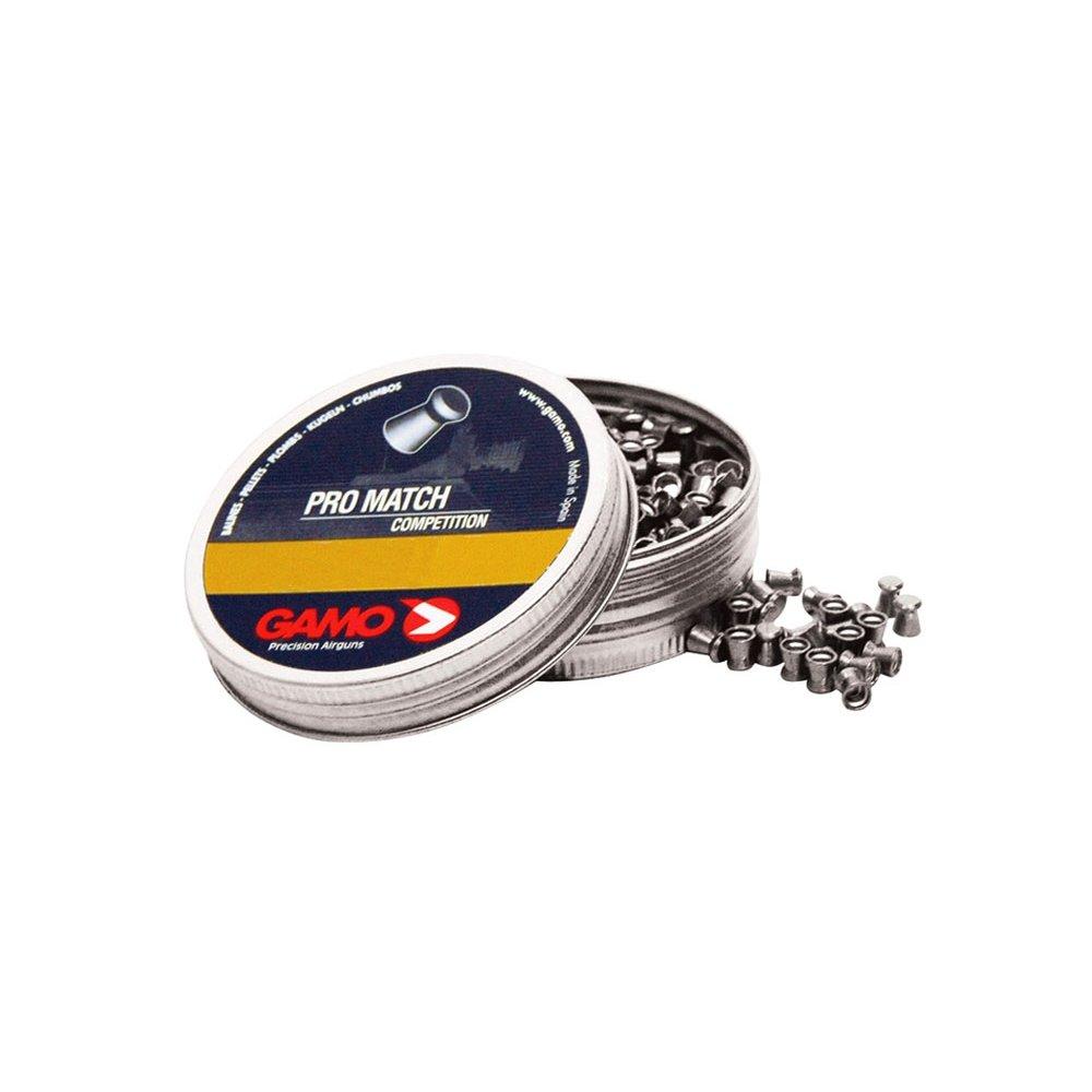 Gamo Lata de 250 balines Pro-Match, Extremadamente precisa, Calibre 5,5 mm, energía 14J, 1,0g (15,42 gr), 6321825 632182557