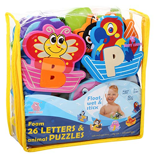 Foam Bath Toys - Bathtub Foam Letters Puzzles - FREE Organizer Storage Bag - Fun Educational Floating Toys for Boys Girls - Early Learning Alphabet Colors Letters Animals - Set 52 Pcs - Non-Toxic ()