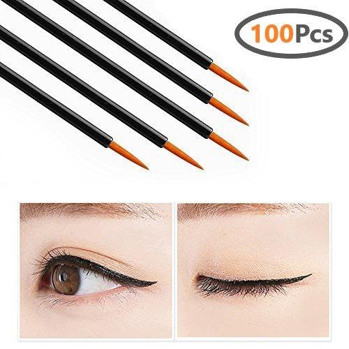 Onwon 100 Pcs Disposable Eyeliner Brush Applicator Cosmetic Eye Lip Wands Makeup Tool
