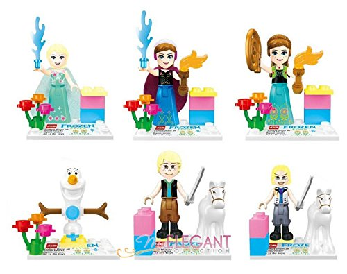Shalleen Elsa Anna Olaf Hans Kristoff 6 Toy Figure Build Block Cake Topper (Hunter And Deer Costume)