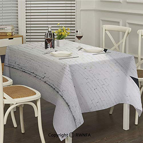 (RWNFA Rectangle Tablecloth,Brick Concrete Room with Three Ceiling Lamps Modern Minimalistic Home Decoration(54