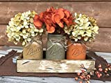 Cheap FALL Mason Canning JARS in Wood Antique White Tray Centerpiece with 3 Ball Pint Jar – Kitchen Table Decor – Distressed Rustic – Flowers (Optional) – Painted Jars Orange Mustard Brown Tan Green Yellow
