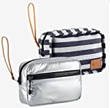 Nike Reversible Studio Travel Wristlet Pouch Bag-Metallic/Gray/Navy