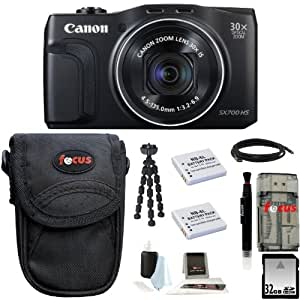 Canon PowerShot SX700 HS Digital Camera (Black) + 32GB Memory Card + All in One High Speed Card Reader + Standard Large Digital Camera Case + Accessory Kit
