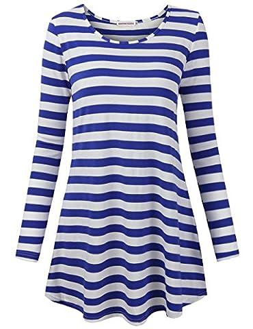Casual Tops for Juniors,MOOSUNGEEK Women's Long Sleeve Stripe Pattern Dresssy Boutique T-Shirt Loose Casual Tops Blue White - Casual Stripe Pattern Shirts