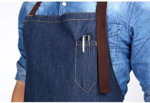 WISTOMJP 1個入調節できるエプロンスカート 身長に応じて調節できる首ベルト 3つのポケット付き キッチン カフェ ガーデニング