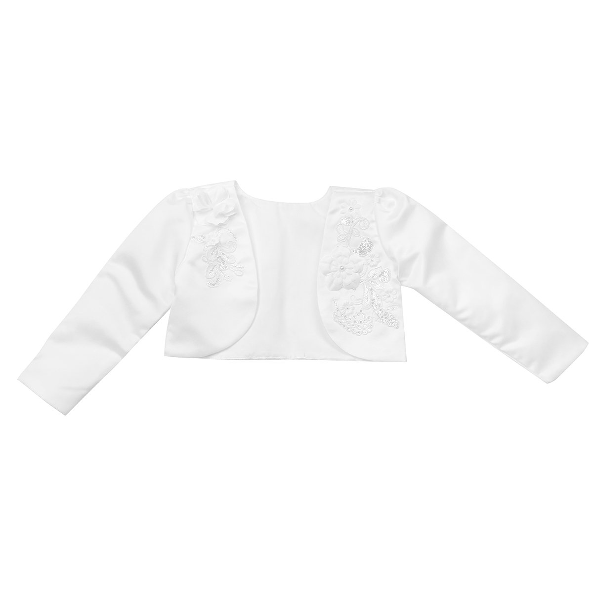 Agoky Kids Girls 3D Flower Long Sleeves White Bolero Shrug Jacket Cardigan 12 Months 10 Years