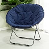Folding chair / Round Leisure Folding Chair / Moon Chair / Home Folding Chair / Recliner /Home lazy sofa /Sun loungers /Balcony lounge chair / ( Color : Dark blue )