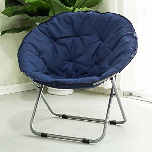 Folding chair / Round Leisure Folding Chair / Moon Chair / Home Folding Chair / Recliner /Home lazy sofa /Sun loungers /Balcony lounge chair / ( Color : Dark blue ) by Folding Chair