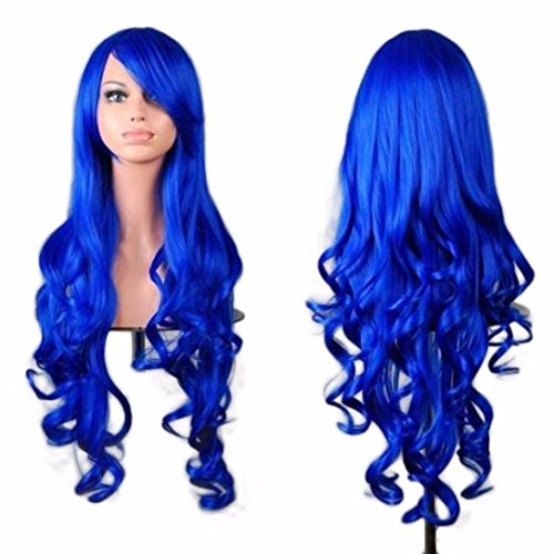 DEESEE(TM) Women Lady Long Wavy Curly Hair Anime Cosplay Party Full Wig Wigs Cosplay wig (Dark Blue) (Brown Long Wig With Two Bows)