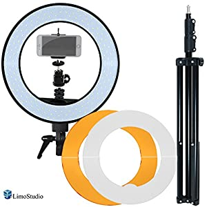 LimoStudio Dimmable Fluorescent Round Ring Light, Continuous Lighting Kit, 5500K, Best for Beauty Facial Shoot, Light Stand Tripod, Cell Phone Spring Clip Holder, Photo Studio, AGG2028