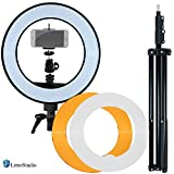 LimoStudio 14-inch Diameter LED Ring Light, Continuous Lighting Kit, 5500K, Good for Beauty Facial Shoot, Light Stand Tripod, Cell Phone Spring Clip Holder, Photo Studio, AGG2028V4