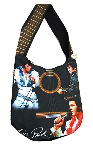 Elvis Presley Cross Body Hobo Purse Poly/Canvas Material w/ Zippered Pocket