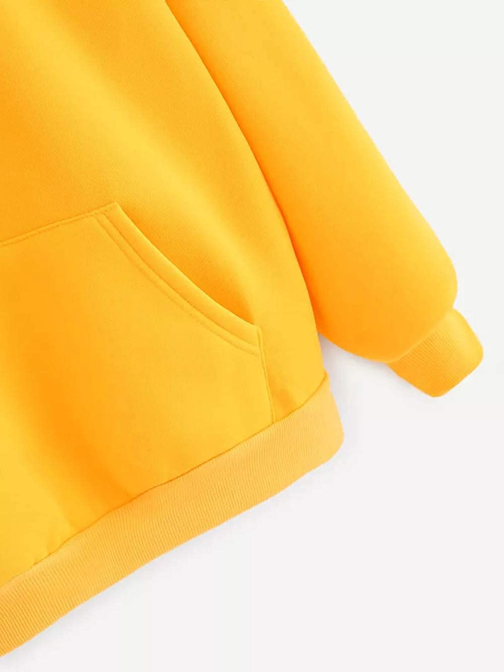 Womens Girls Long Sleeve Hoodie Yellow Hooded Sweatshirt Pullover Tops Blouse with Pocket at Amazon Womens Clothing store: