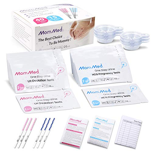 Ovulation Test Kit HCG15-LH40, 15 Pregnancy Test Strips & 40 Ovulation Test Strips with 55 Urine Cups Reliable & Quick Early Pregnancy Test