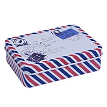 SODIAL(R) Retro Tin Small Rectangular Iron Storage Jars Jewelry Box Home Decoration Gift 5#