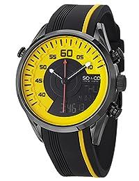 SO & CO New York  Men's 5044.3 SoHo Quartz Analog Digital Yellow Dial Rubber Strap Watch